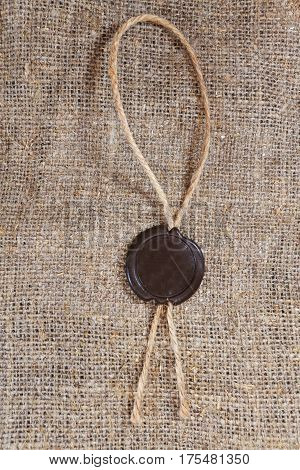 Sealing Wax Seal On Sack Background