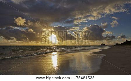 Tropical island shoreline beach sunrise and sandy shores