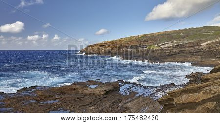 Rugged Coastline off Makapuu Point Hawaii shores