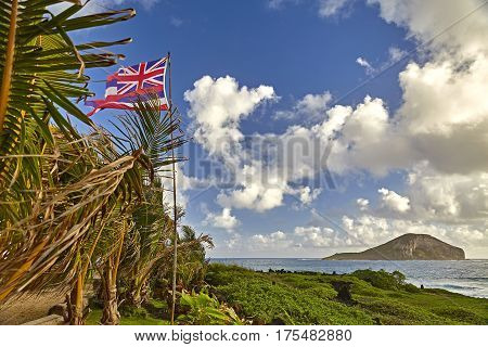 Hawaiian Nation flag off the Makapuu Coast Hawaii