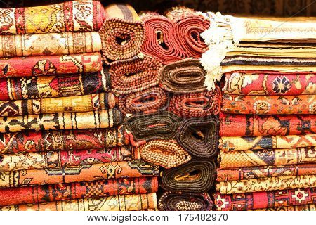 Turkish Carpets in Grand Bazaar Istanbul Turkey poster
