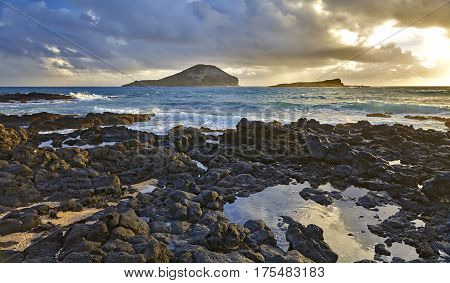 Ocean Shore Makapuu Point Rabbit Island Hawaii