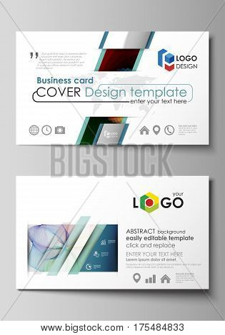 Business card templates. Easy editable layout, abstract flat design template, vector illustration. Colorful design with overlapping geometric shapes and waves forming abstract beautiful background.