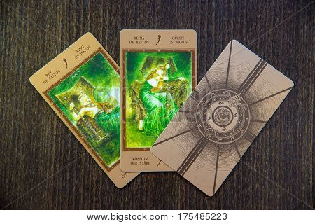 Moscow Russia - January 29 2017: Tarot cards on the wood. Labirinth tarot deck. Esoteric background