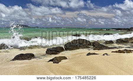 Tropical Island White Sandy Beach And Surf