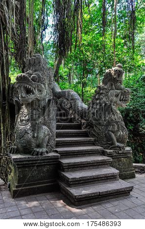 Dragon Statues In Monkey Forest In Ubud, Bali