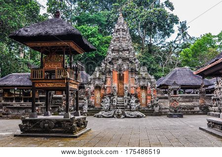 Hindu Temples In Monkey Forest In Ubud, Bali