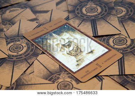 Moscow Russia - January 29 2017: Tarot card The High Priestess. Labirinth tarot deck. Esoteric background
