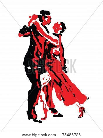 Sketched Dancers in Red And Black - vector