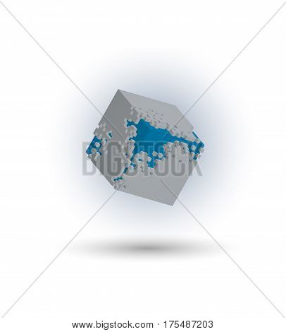 Destruction cube Logo, illustration vector, eps 10