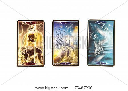 Moscow Russia - January 29 2017: Tarot cards on white background. Quantum tarot deck. Esoteric background