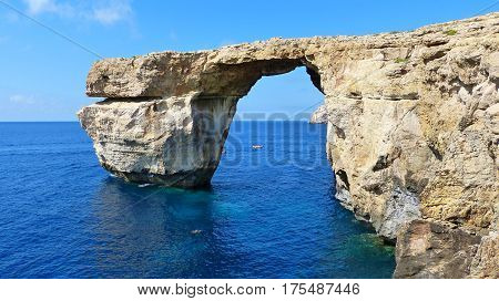 The famous Azure Window in Malta, an arch of rock that forms a doorway to the open sea. The way it looked before it collapsed into the sea.