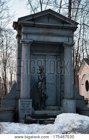 MOSCOW, RUSSIA - MAR 8, 2017: German cemetery(Vvedenskoye cemetery) is a historical cemetery in the Moscow district of Lefortovo. The cemetery was founded in 1771