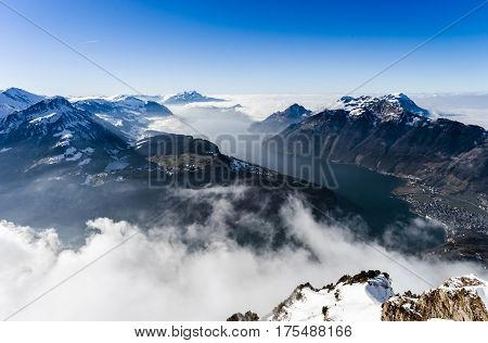 Panoramic Aerial View To Luzern Lake From High Peak