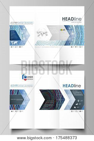 Tri-fold brochure business templates on both sides. Easy editable abstract vector layout in flat design. Blue color background in minimalist style made from colorful circles