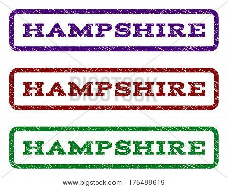 Hampshire watermark stamp. Text caption inside rounded rectangle frame with grunge design style. Vector variants are indigo blue, red, green ink colors. Rubber seal stamp with dust texture.