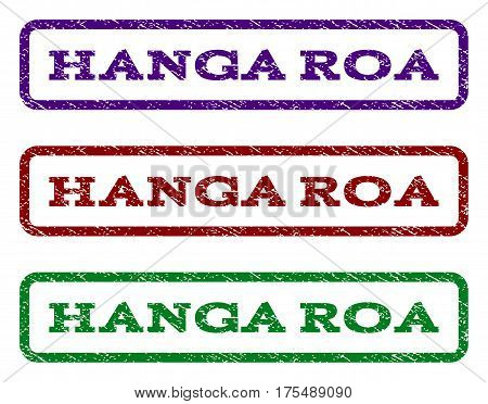Hanga Roa watermark stamp. Text tag inside rounded rectangle with grunge design style. Vector variants are indigo blue, red, green ink colors. Rubber seal stamp with dust texture.