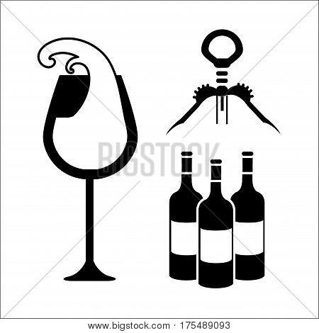 glasse, bottles of wine and take out cork, vector illustration design
