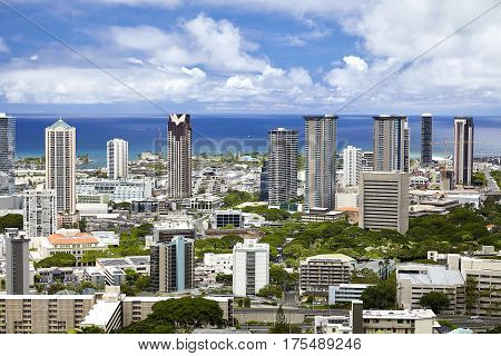 Downtown Honolulu Hawaii High Rise Skyline and shores of waikiki