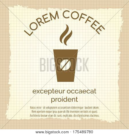 Vintage cafe poster design with take away coffee cup and text, vector illustration