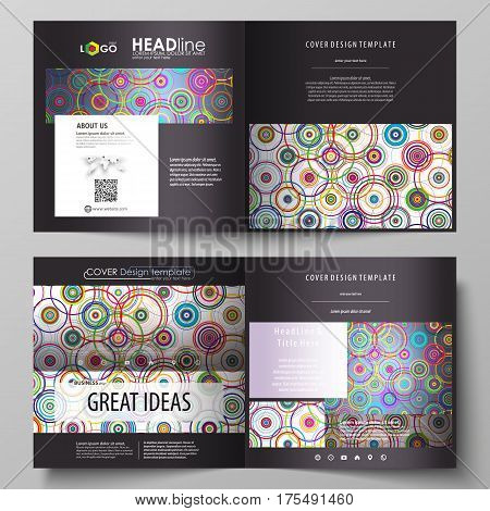 Business templates for square design bi fold brochure, magazine, flyer, booklet or annual report. Leaflet cover, abstract flat layout, easy editable vector. Bright color background in minimalist style made from colorful circles.