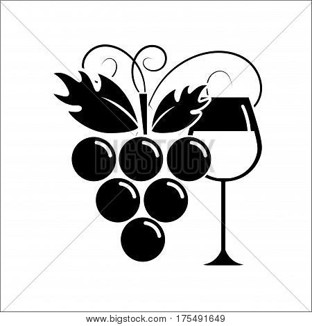 glass of wine with grape icon stock, vector illustration design image