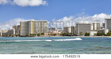 Waikiki Beach ocean surf shoreline Honolulu Hawaii