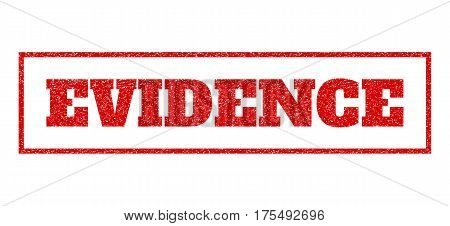 Red rubber seal stamp with Evidence text. Vector tag inside rectangular frame. Grunge design and dirty texture for watermark labels. Scratched sign.