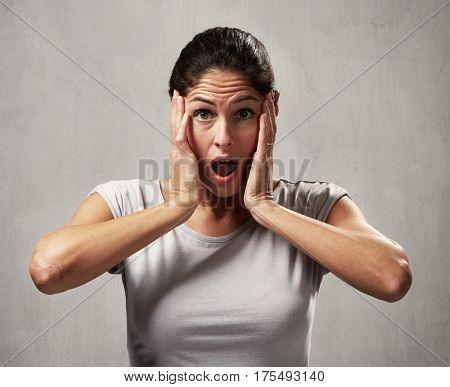 surprised afraid woman