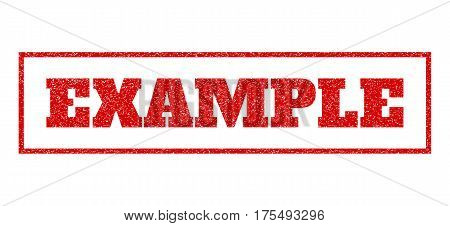 Red rubber seal stamp with Example text. Vector caption inside rectangular banner. Grunge design and dust texture for watermark labels. Scratched sticker.