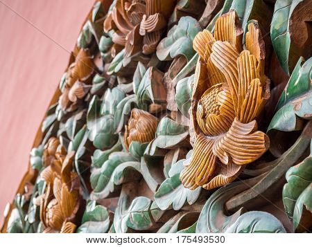 Beijing, China - Oct 30, 2016: Aged ceramic flower motif at the Gate of Heavenly Purity, or Celestial Purity (Qianqingmen). Forbidden City (Gu Gong, Palace Museum). Closeup view.