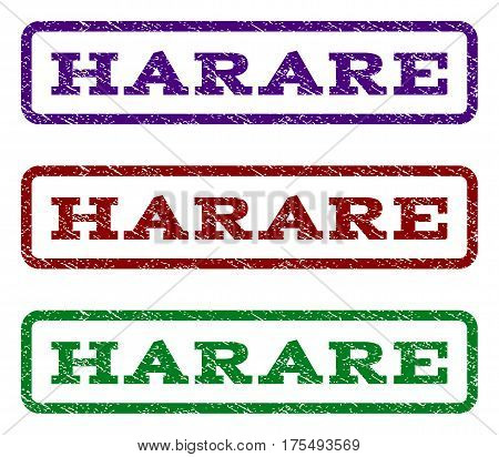 Harare watermark stamp. Text tag inside rounded rectangle frame with grunge design style. Vector variants are indigo blue, red, green ink colors. Rubber seal stamp with unclean texture.
