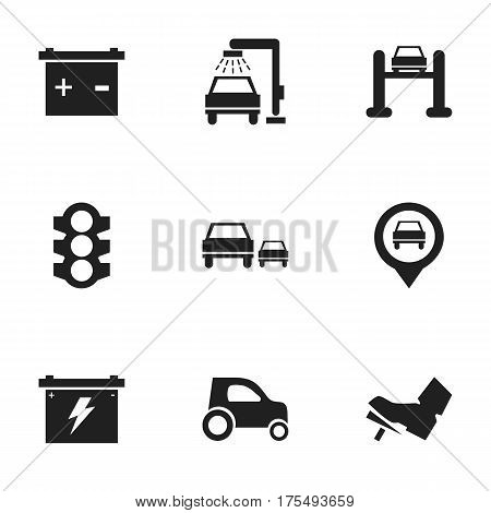 Set Of 9 Editable Transport Icons. Includes Symbols Such As Accumulator, Battery, Treadle And More. Can Be Used For Web, Mobile, UI And Infographic Design.