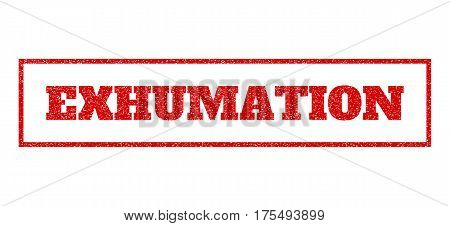 Red rubber seal stamp with Exhumation text. Vector message inside rectangular banner. Grunge design and unclean texture for watermark labels. Scratched sticker.