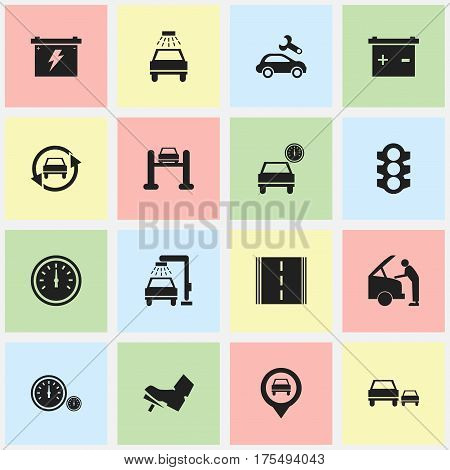 Set Of 16 Editable Car Icons. Includes Symbols Such As Car Lave, Treadle, Accumulator And More. Can Be Used For Web, Mobile, UI And Infographic Design.
