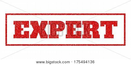 Red rubber seal stamp with Expert text. Vector message inside rectangular frame. Grunge design and dirty texture for watermark labels. Scratched sign.