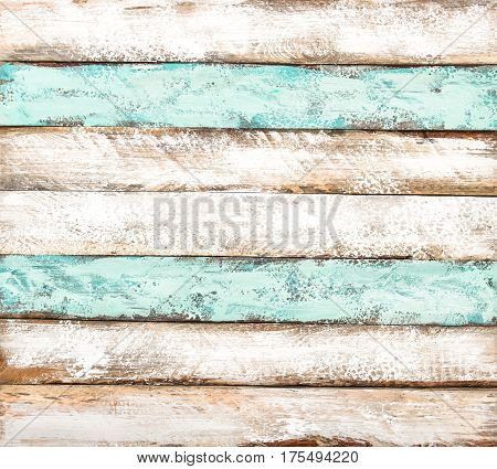 Colored wooden tiles. Painted wood background. Shabby chic texture poster