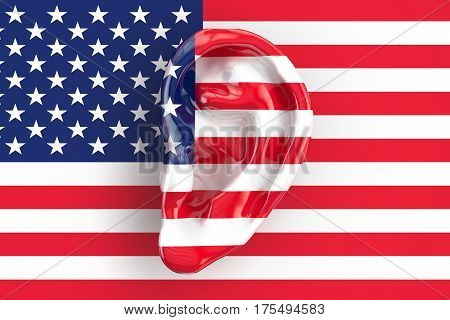American intelligence concept ear on the USA flag. 3D rendering