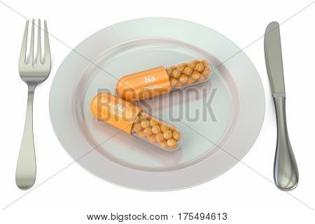 Diet and healthy meal concept. Plate with sodium Na capsules 3D rendering