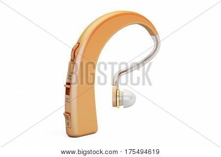 Hearing aid closeup 3D rendering isolated on white background
