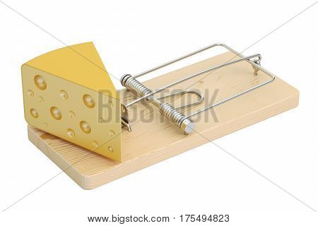 mousetrap with cheese 3D rendering isolated on white background