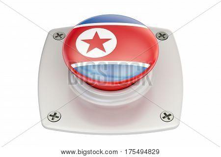 North Korea flag push button 3D rendering