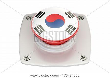 South Korea flag push button 3D rendering
