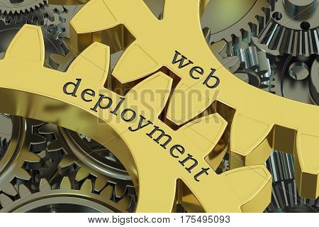 Web Deployment concept on the gearwheels 3D rendering