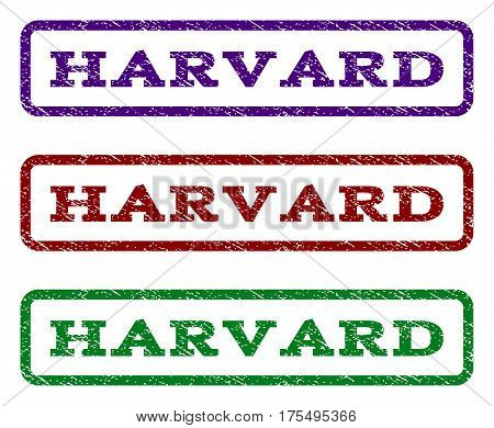 Harvard watermark stamp. Text caption inside rounded rectangle with grunge design style. Vector variants are indigo blue, red, green ink colors. Rubber seal stamp with dirty texture.