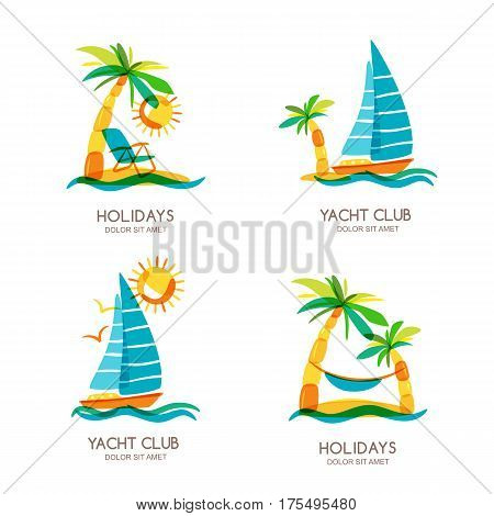 Set of summer travel and tourism vector illustrations. Tropical island palms and sailing boat. Flat design for summer vacation. Concept for travel agency boat rent cruise and beach resort.