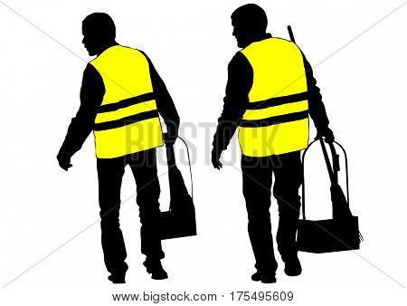 Janitor in signal vest on white background