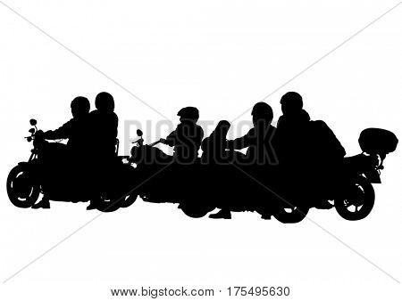 Motorcycl and baeuty women and man on white background