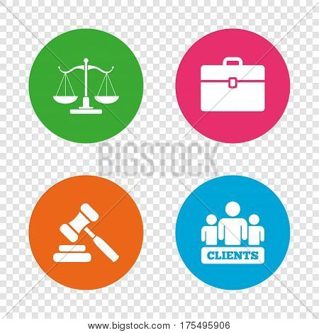 Scales of Justice icon. Group of clients symbol. Auction hammer sign. Law judge gavel. Court of law. Round buttons on transparent background. Vector