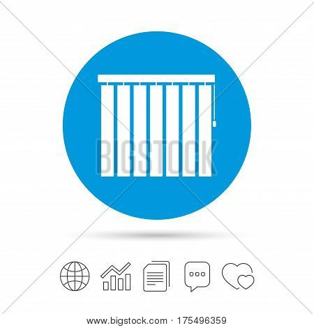 Louvers vertical sign icon. Window blinds or jalousie symbol. Copy files, chat speech bubble and chart web icons. Vector